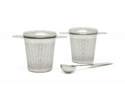 2 Teefilter mit Ablage/Deckel & Messlöffel