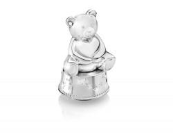 Spieluhr/Spardose Bär mit Herz silbrig