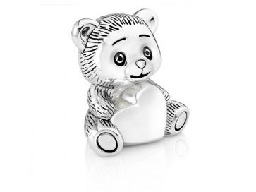 Spardose Bär mit Herz silbrig