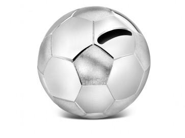 Spardose Fußball silbrig
