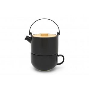 TeaforOne-Set Umea Keramik schw.matt Bamb.