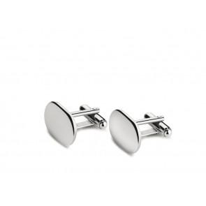Manschettenknöpfe oval, glatt, Paar 925er Silber