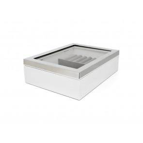 Schmuckschatulle Kunststoff weiß mit Fenster & Rand silbrig
