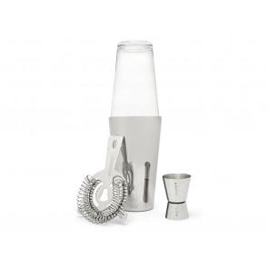 Boston Shaker-Set 4tlg Glas, Shaker, Barmaß, Sieb